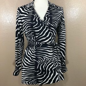J McLaughlin Zebra Print Wrap Top